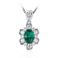 JewelryPalace エレガント0.7ct 人工 エメラルド ネックレス ペンダント スターリング シルバー925 チェーン 45cm