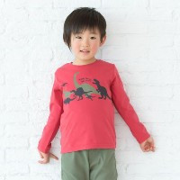 【3can4on(Kids) (サンカンシオン)】天竺恐竜プルオーバーキッズ トップス|カットソー・Tシャツ レッド