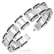 Stainless Steel Silver-Tone Black Mens Link Chain Classic Bracelet with Clasp