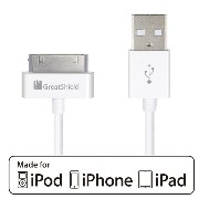 GreatShield Apple MFI 認証 30ピン → USB DOCKケーブル 充電・通信用 0.9m - iPhone 4 / 4S, iPhone 3G / 3GS, iPad 1 /...