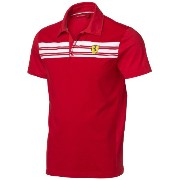 フェラーリ ポロシャツ Ferrari Red XX-Large Striped Polo Shirt