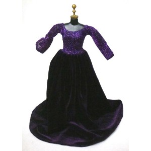 バービー 着せ替え用ドレス/服 Pur6 (Stunning Gown in Purple with Velvet Skirt and Shimmery Bodice Made to Fit...