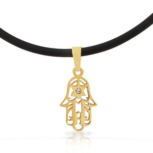 EDFORCE Stainless Steel Yellow Gold-Tone Hamsa Star of David Pendant Necklace