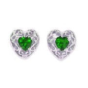 1 Ct Simulated Emerald & Diamond LOVE Engraved Heart Stud Earrings .925 Sterling Silver Rhodium...