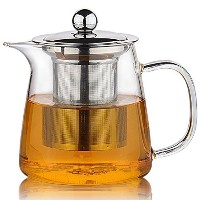 Moyishi Perfect Clear Glass Teapot with Stainless Steel Infuser & Lid, Pyrex Glass Teapots Stovetop...