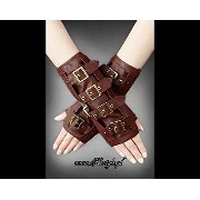 restyleバックルアームウオーマー手袋スチームパンクゴシックポーランド BROWN STEAMPUNK ARM WARMERS WITH BUCKLES