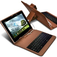 "ONX3 Acer Iconia W510 10.1"" (Brown) 超薄型調節可能なタブレットケースマイクロUSB接続付きのAndroidタブレット用QWERTYキーボードスタンドカバー"