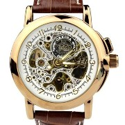 [オルキナ]Orkina Mens Gold Case Transparent Dial Mechanical Leather Strap Wrist Watch 腕時計 [並行輸入品]