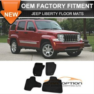 Jeep Liberty フロアマット Fit 08-13 Jeep Liberty 4Dr Floor Mats Carpet Front & Rear Nylon Black 4PC...