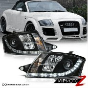 アウディ ヘッドライト 1999-2006 Audi TT Coupe Convertible Quattro Black LED DRL Projector Headlights 1999...