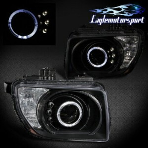 ホンダ エレメント ヘッドライト 2003 2004 2005 2006 Honda Element Angel Eye LED Halo Black Projector Headlights...