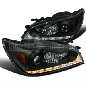 レクサス ヘッドライト 2001-2005 Lexus IS300 Black Projector Headlights w/ LED DRL Signal Strip 2001-2005レクサスIS...