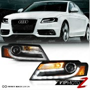 アウディ ヘッドライト 2009-2010-2011 Audi A4 S4 Quattro Black LED DRL Projector Xenon Headlights Lamps 2009...