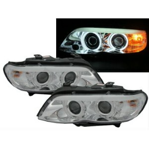 BMW ヘッドライト E53 2004-2006 FACELIFTED CCFL Angel-Eye Projector Headlight CHROME for BMW LHD BMW...