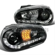 フォルクスワーゲン ヘッドライト 1999-2006 VW Golf MK4 GTI R8 Style LED Signal Lamps Projector Headlights Black...