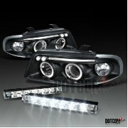 アウディ ヘッドライト AUDI 96-99 A4 JDM BLACK HALO PROJECTOR HEADLIGHT+BUMPER LED DRL FOG LIGHT AUDI 96-99 A4...