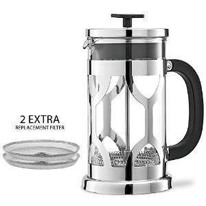 Chef's Star French Press ~ Best Espresso Coffee Maker - 8 Cup - Pyrex Heat Resistant Glass - Chrome...