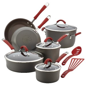Rachael Ray 87630 Cucina Hard-Anodized Nonstick 12-Piece Cookware Set, Gray With Cranberry Red...