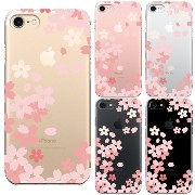 iPhone7 対応 ハード クリア ケース 保護フィルム付 桜 ピンク
