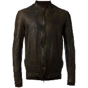 Salvatore Santoro - mandarin neck zipped jacket - men - コットン/レザー - 52