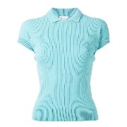 Red Valentino - ribbed knit polo top - women - ポリアミド/ビスコース - S
