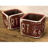 ROUTE66 Planter ルート66 プランター スクエア ミニ 2個セット Red