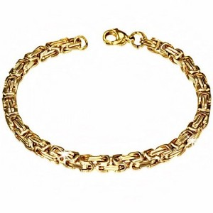 Stainless Steel Yellow Gold-Tone Mens Classic Link Chain Bracelet with Clasp