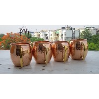 Hammered Copper Moscow Mule Mug Handmade of 100% Pure Copper, Brass Handle Solid Copper Moscow Mule...