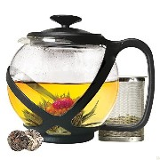 Tempered Glass 5-Cup Tea Pot w/ Removable Steel Infuser (5-Cup Black Tea Pot 1182.9 ml (40 oz)(PLUS...