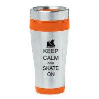 Orange 16oz Insulated Stainless Steel Travel Mug Z1389 Keep Calm and Skate On Ice Skates by MIP ...
