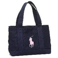 ポロラルフローレン バッグ POLO RALPH LAUREN 950188 SCHOOL TOTE MEDIUM トートバッグ NAVY/BLUSH PINK PP