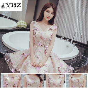 Floral Print Bridesmaid Princess Dresses Sleeveless Cocktail Dresses Short Party Dresses Homecoming