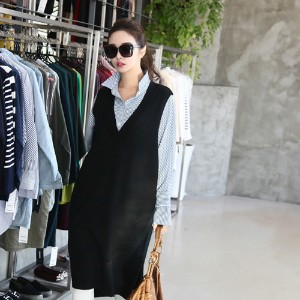 [zoozoom] V-neck long knit vest 3color / 25968