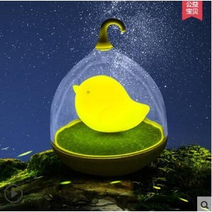 Small bird cage LED night light rechargeable voice-activated creative bedroom bedside baby feeding...