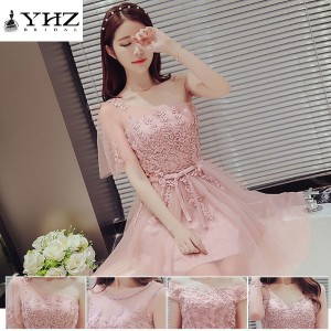 Red bean Bridesmaid Dresses Sleeveless Cocktail Dresses Strapless Short Party Lace Dresses Homecomin