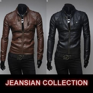 Mens Fashion Faux Leather jackets Designer Casual Slim fit outerwear Tops New Coats