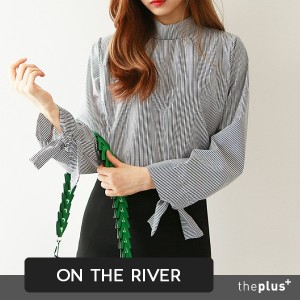 ★ontheriver★ HIT ITEM ★ High Quality Wide Sleeve Ribbon Point Blouse / Korean Style / Korea Trends ...