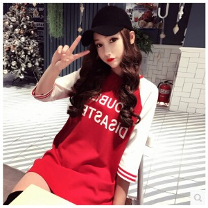 2017 spring the new Korean subtitle red and white stitching inserts sleeve straight sleeve dress