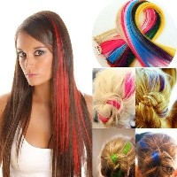 Synthetic Straight Hair Extensions Highlight Clip In On Hair pieces