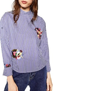 Women Elegant Striped Floral Embroidery Shirts Full Cotton Long Sleeve Stand Collar Loose Blouse...