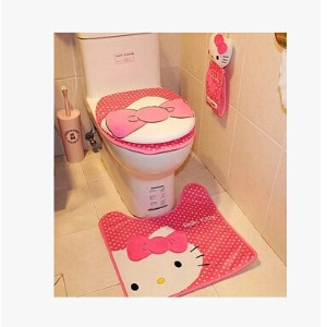 hello kitty KT cat plush sets potty toilet toilet mat sets cover tissue pumping Bathroom Set