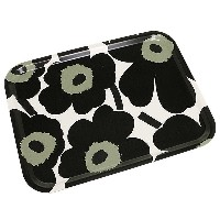 マリメッコ トレー MARIMEKKO 067767 030 P. UNIKKO PLYWOOD TRAY BLACK/WHITE