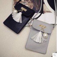 Small bag 2016 spring new fringed pearl fashion Korean version of the mobile phone package shoulder...