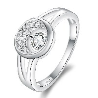 Fashion Crystal Inlaid Zircon Silver Plated Ring for Women Moon Shape Refer to SWA Element Size 8