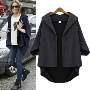 Women Casual Jacket Loose Coat Batwing Sleeve Outerwear Kimono Cardigan Manteau