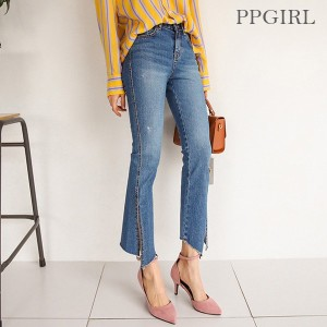 送料 0円★PPGIRL_9361 Slit denim pants/boot cut jeans/denim slacks/ankle length pants/ユニーク パンツ/デーリー