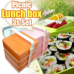 ★Picnic Lunch box 3s Set★3~4persons/lovely collar/Light green/pink/orange/sky blue/mixed food is...