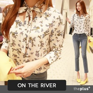 ★ontheriver★ SUPER SALE!! ★ Flower Patteren Blouse / Front Ribbon / Good Material / High Quality