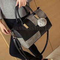 Leather Handbag Shoulder Purse Tote Women Satchel Messenger Crossbody Bag Black