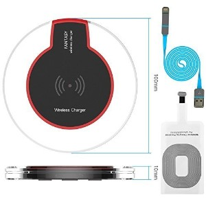 Qi Wireless Charger Pad With Wireless Charging Receiver And 2in1 USB Charger Cable For iPhone5/5S...